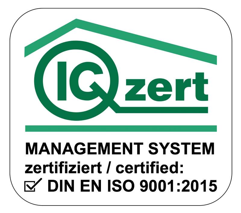 ISO 9001:2015 Zertifiziertes Unternehmen. Qualitätsmanagement